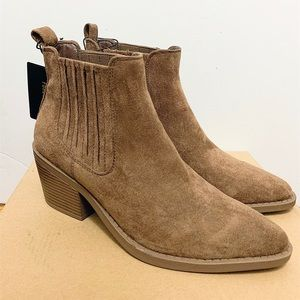 Tan suede low heel ankle boot